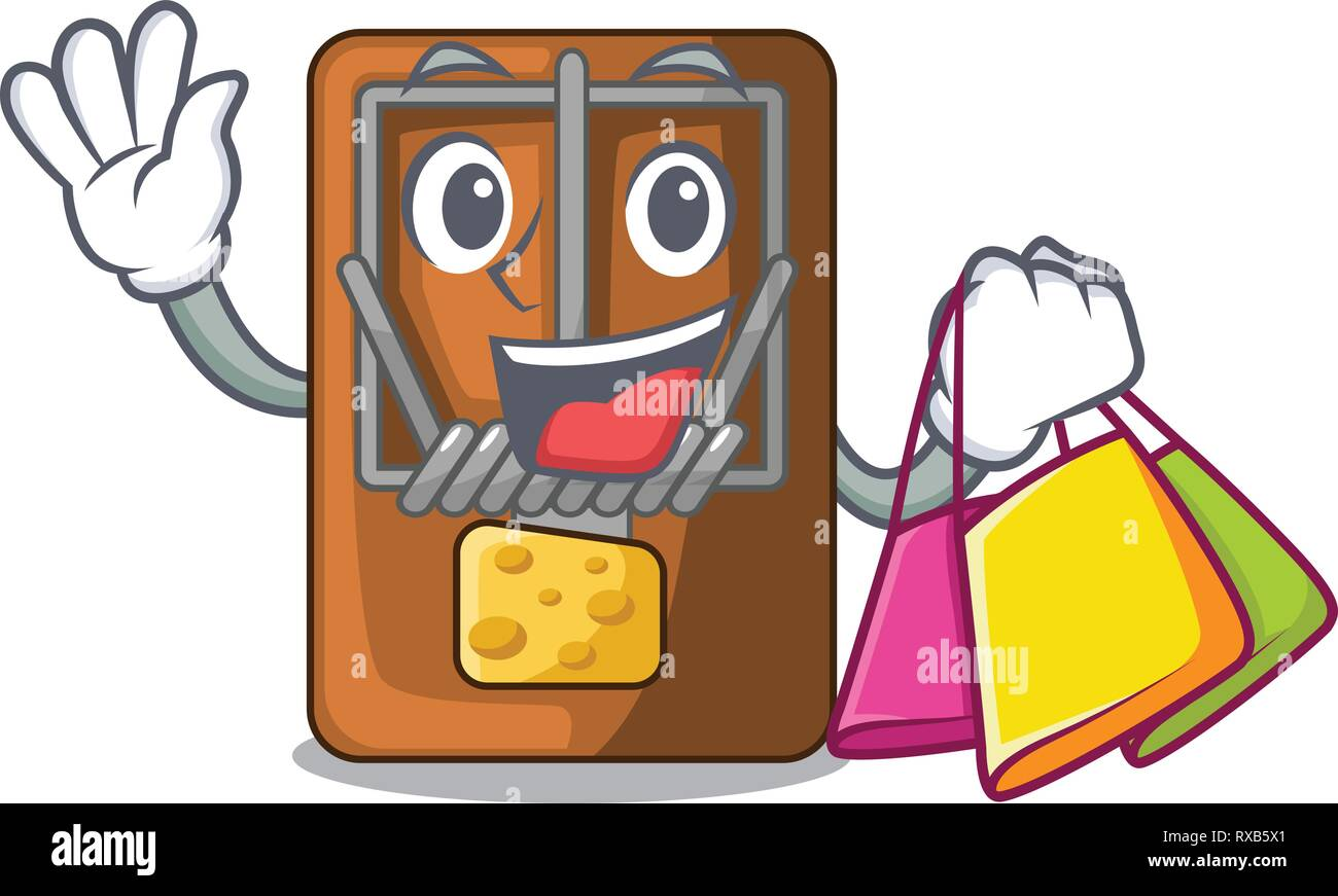 Shopping mousetrap in the shape mascot wood Stock Vector