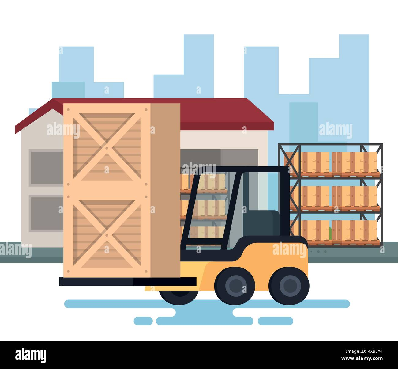 forklift delivery with warehouse - Stock Image