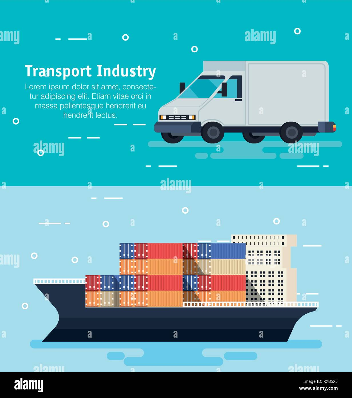 ship with containers and van - Stock Vector