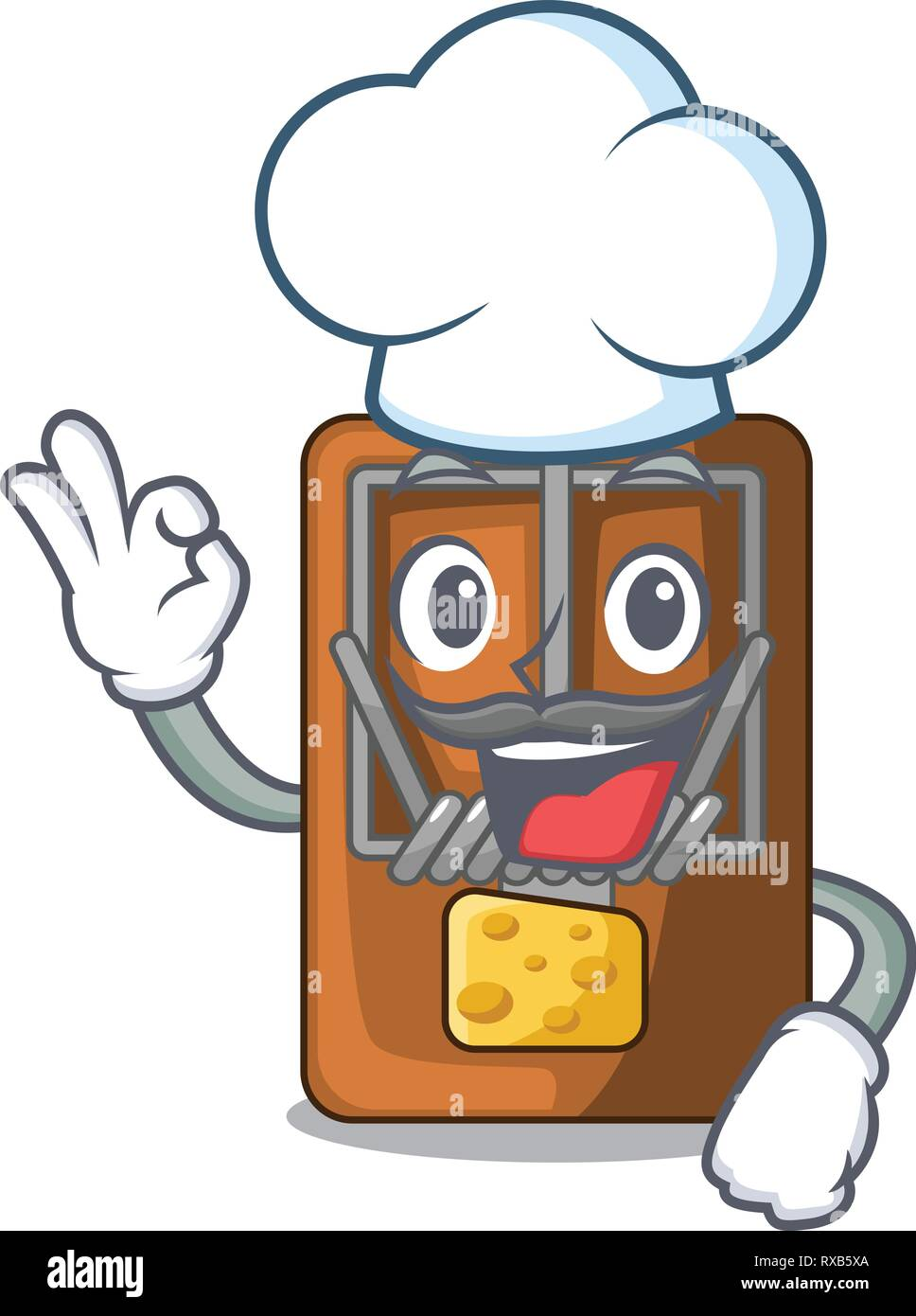 Chef mousetrap in the shape mascot wood Stock Vector