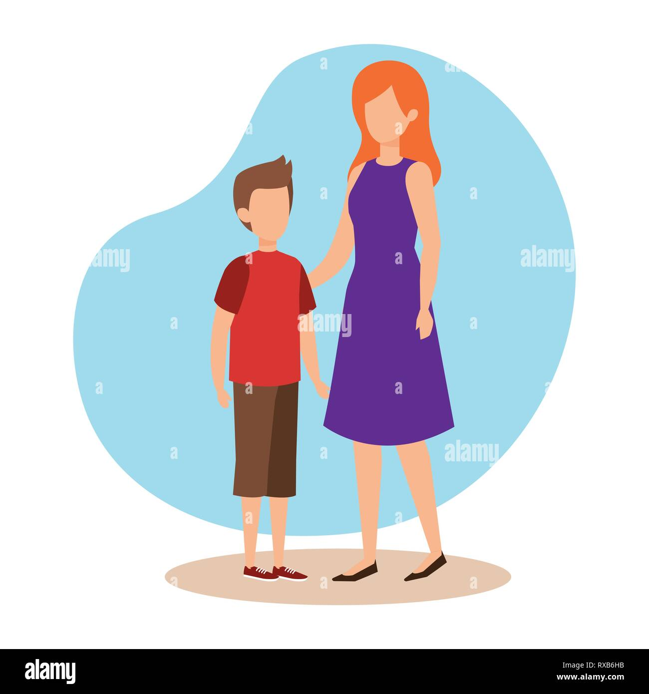 mother with son characters Stock Vector Art & Illustration