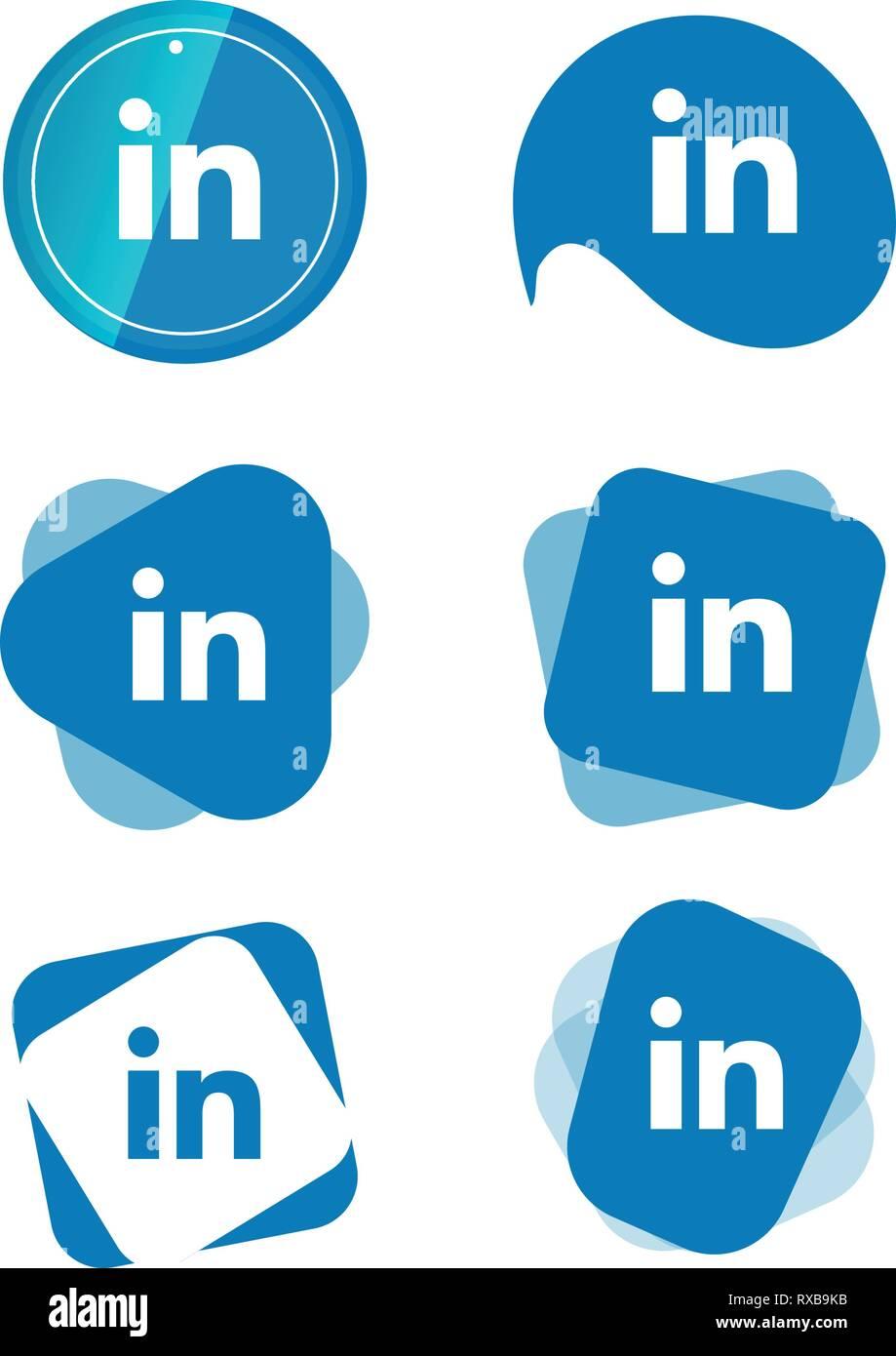 Linkedin In Social Media Icons Set Logo Vector Illustrator