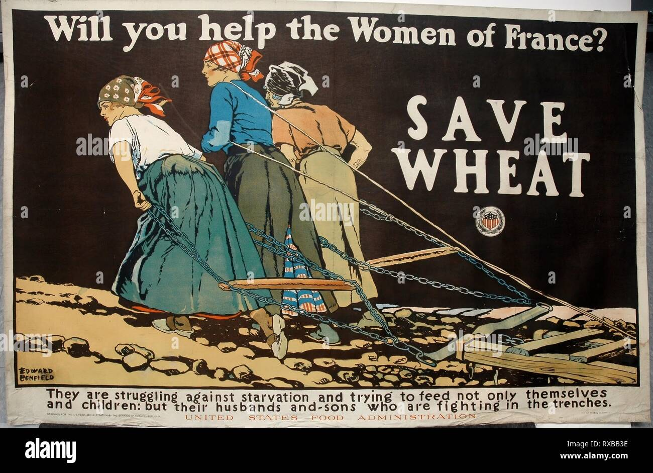 Will You Help the Women of France?. Edward Penfield (American, 1866-1925); printed by W. F. Powers Company Lithographers; published by United States Food Administration. Date: 1917. Dimensions: 925 x 1420 mm. Color lithograph on cream wove paper, laid down on linen. Origin: United States. Museum: The Chicago Art Institute. - Stock Image