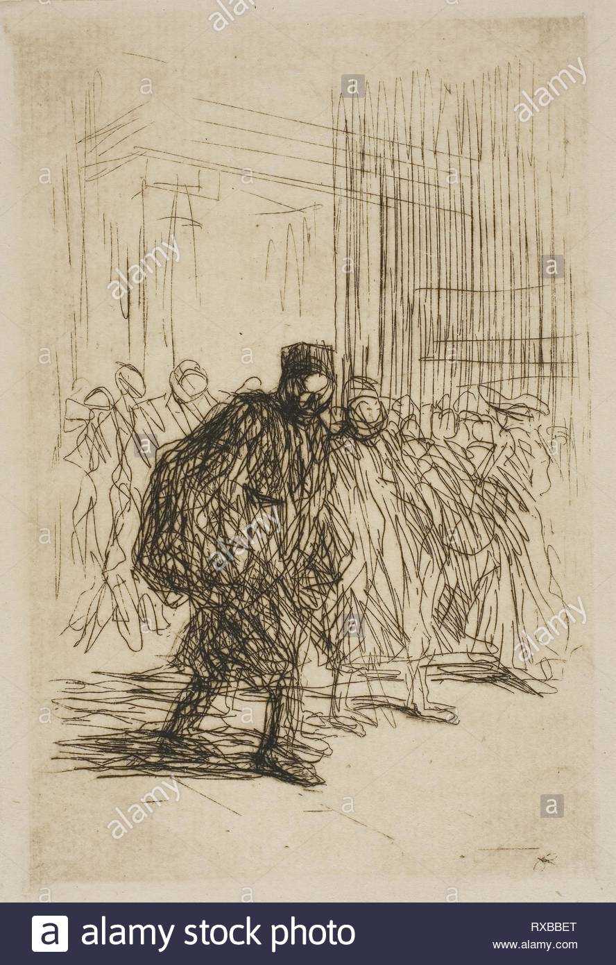 In the Corridors of the Court House. Jean Louis Forain; French, 1852-1931. Date: 1908. Dimensions: 140 × 98 mm (plate); 565 × 455 mm (sheet). Etching in dark brown on cream wove paper. Origin: France. Museum: The Chicago Art Institute. - Stock Image