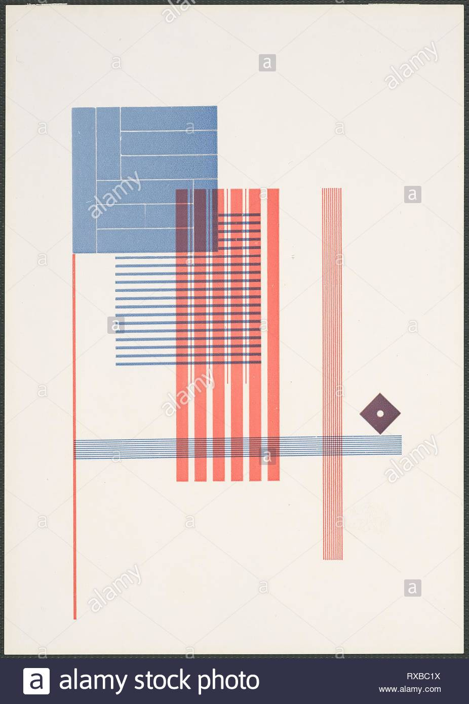 Typographical Experiment. Piet Zwart; Dutch, 1885-1977. Date: 1925. Dimensions: 240 x 169 mm. Color letterpress on coated off-white wove paper. Origin: The Netherlands. Museum: The Chicago Art Institute. - Stock Image
