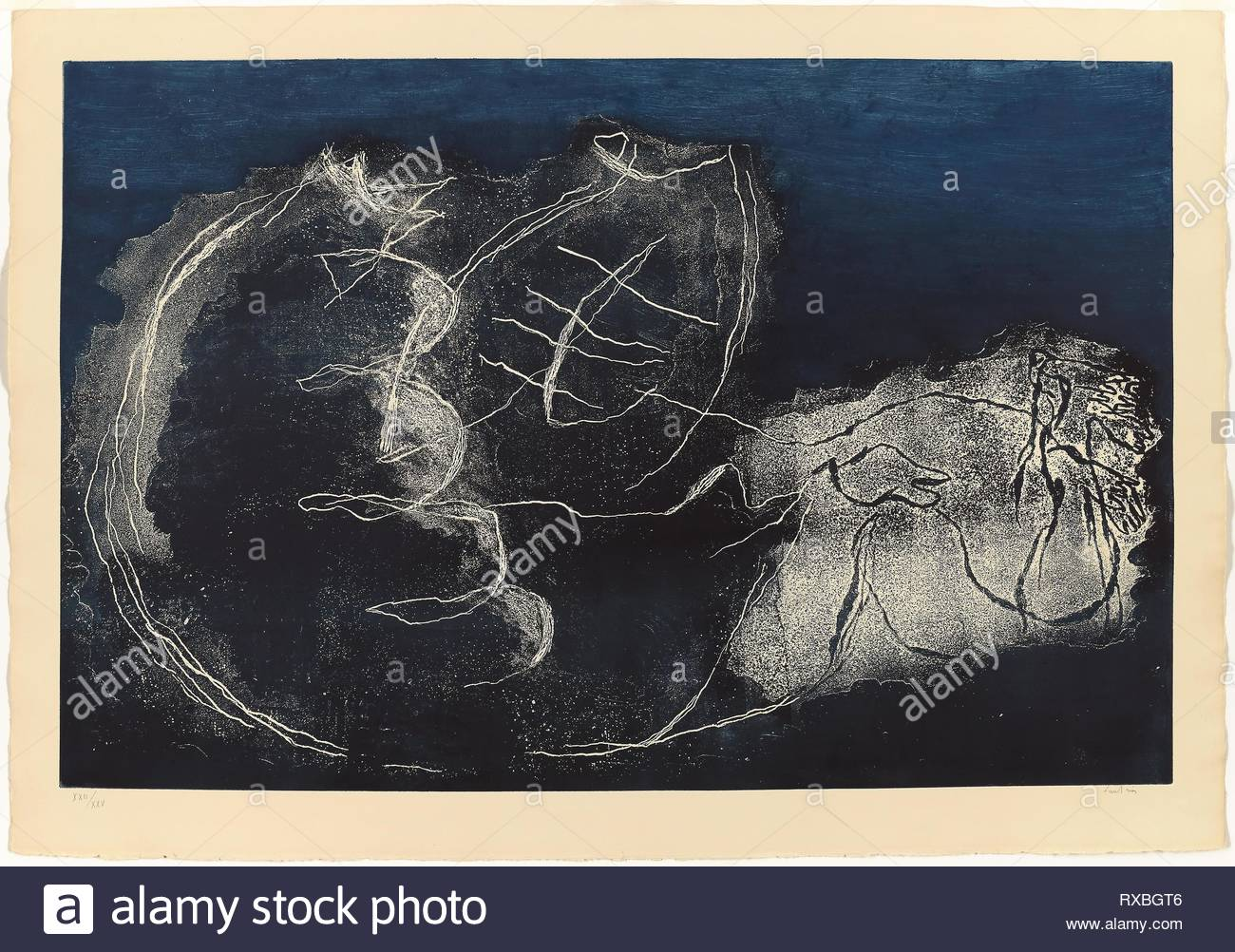 Woman in the Night. Jean Fautrier; French, 1898-1964. Date: 1947. Dimensions: 545 × 833 mm (plate); 635 × 910 mm (sheet). Etching and aquatint with monotype inking on cream wove paper. Origin: France. Museum: The Chicago Art Institute. - Stock Image