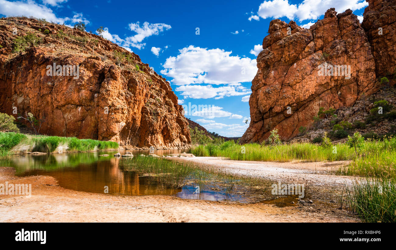 Scenic panorama of Glen Helen gorge in West MacDonnell National Park in NT central outback Australia - Stock Image
