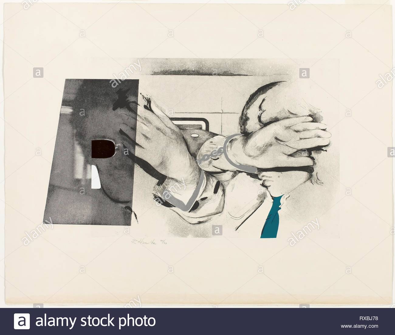 Swinging London 67. Richard Hamilton; English, 1922 - 2011. Date: 1968. Dimensions: 339 × 558 mm (image); 568 × 729 mm (sheet). Etching and aquatint with photo-engraving, die-stamping, collage and embossing on ivory wove paper. Origin: England. Museum: The Chicago Art Institute. - Stock Image
