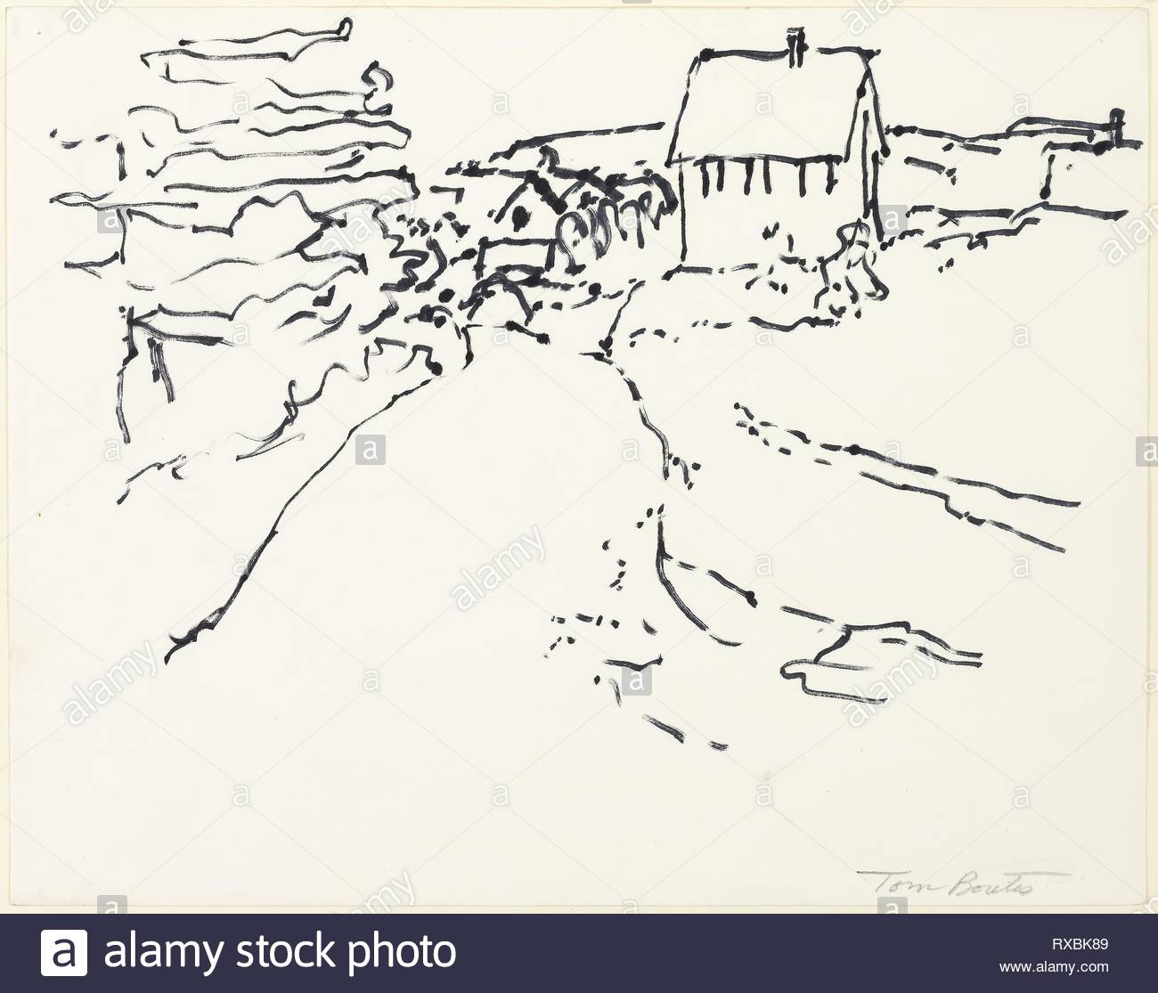 Cottage by the Sea. Tom Boutis; American, born 1922. Date: 1966-1967. Dimensions: 240 x 304 mm. Black fiber-tipped pen on white wove paper. Origin: United States. Museum: The Chicago Art Institute. - Stock Image