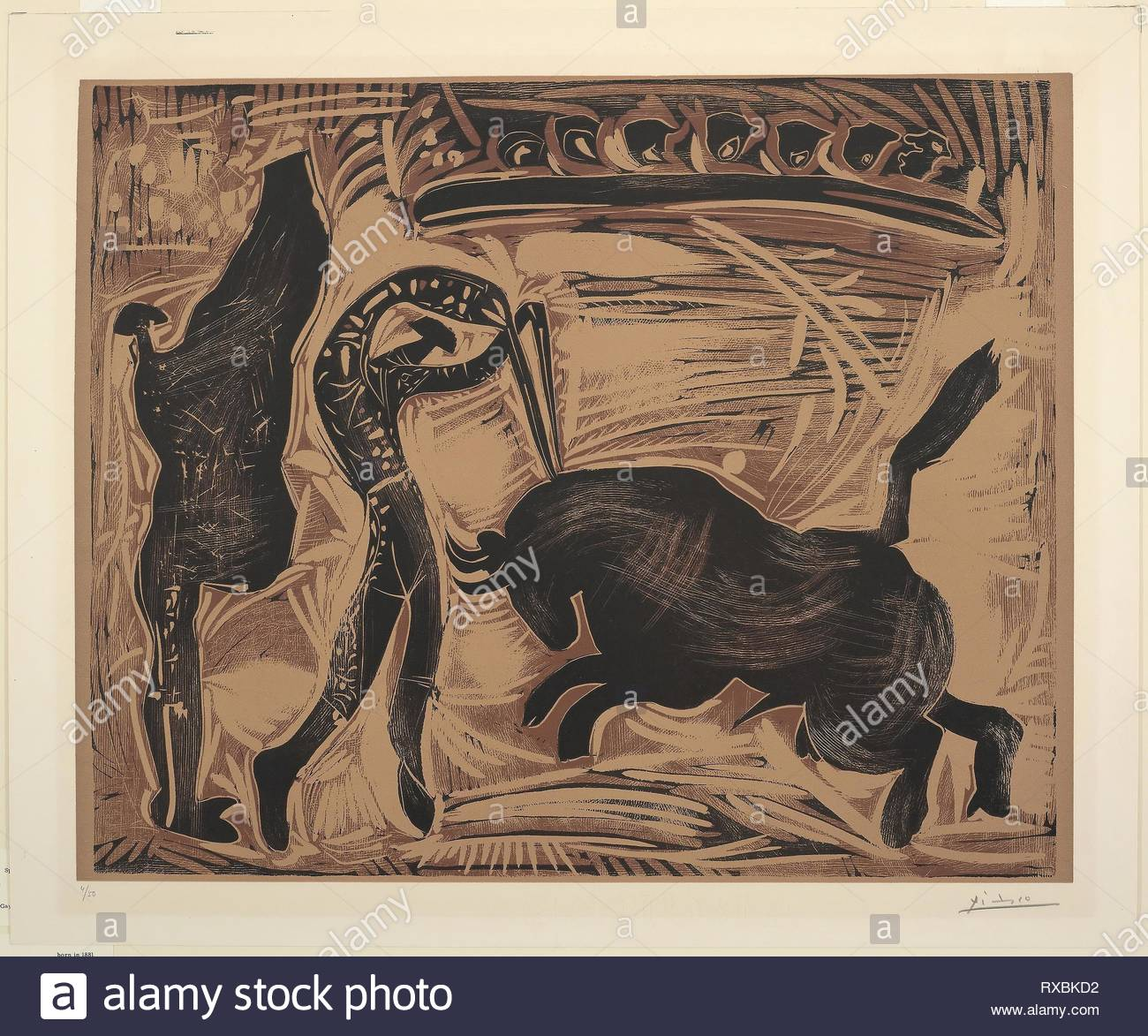 The Banderilleros. Pablo Picasso (Spanish, 1881-1973); printed by Hidalgo Arnéra; published by Galerie Louise Leiris. Date: 1959. Dimensions: 535 x 665 mm (image); 623 x 752 mm (sheet). Linoleum engraving on ivory wove paper. Origin: Spain. Museum: The Chicago Art Institute. - Stock Image