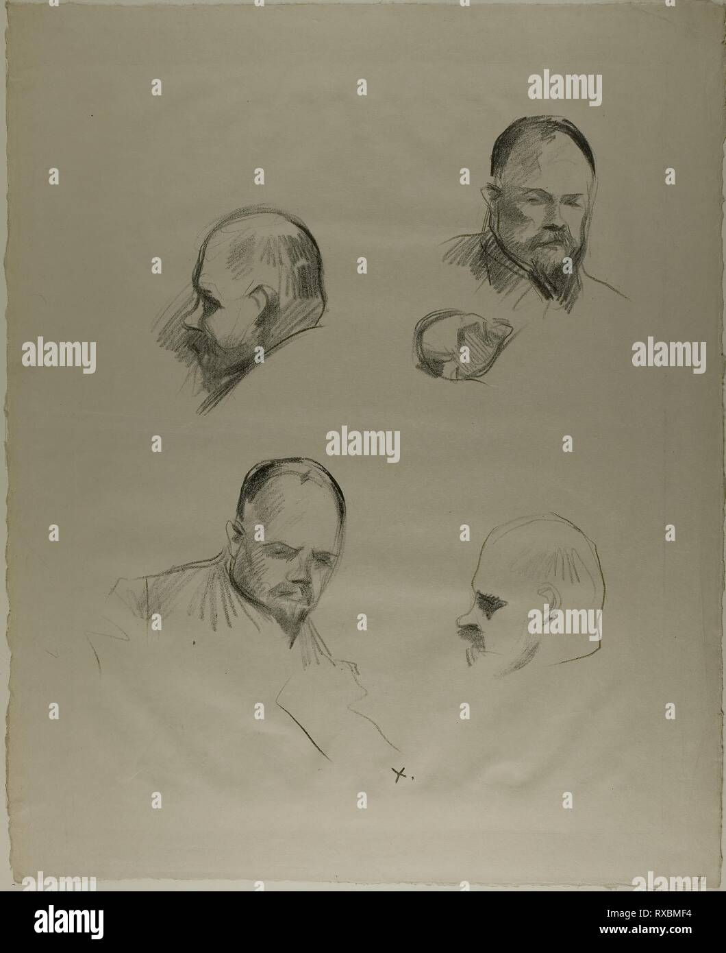 Ambroise Vollard, Four Sketches. Jean Louis Forain; French, 1852-1931. Date: 1905-1915. Dimensions: 433 × 350 mm (image); 569 × 463 mm (sheet). Lithograph on cream wove paper. Origin: France. Museum: The Chicago Art Institute. - Stock Image