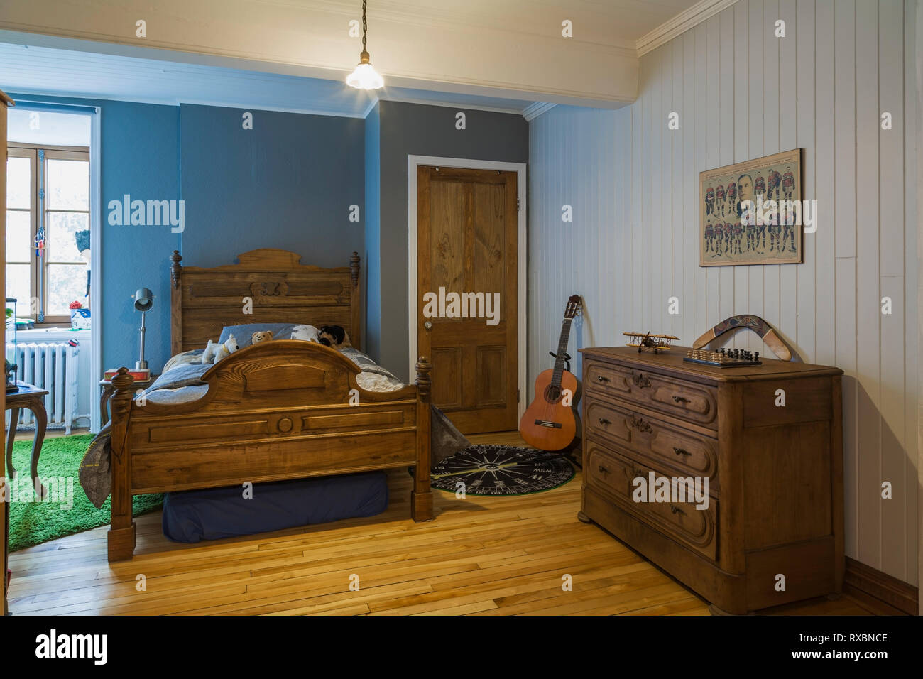 Blue Guest Bedroom With Antique 34 Antique Wood Frame Bed And