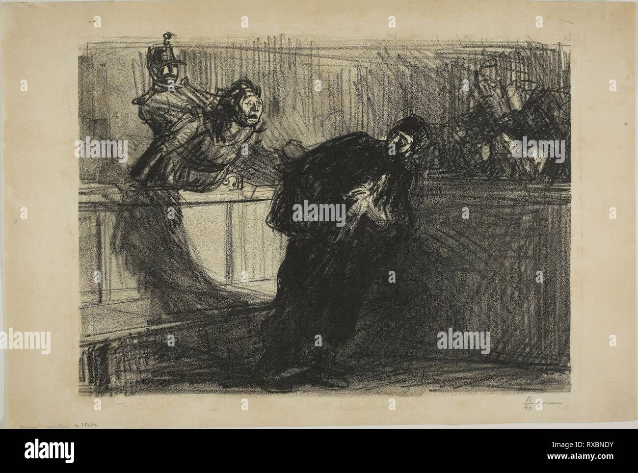 The Lawyer Abused. Jean Louis Forain; French, 1852-1931. Date: 1914. Dimensions: 299 × 405 mm (image); 348 × 520 mm (sheet). Lithograph on cream laid paper. Origin: France. Museum: The Chicago Art Institute. - Stock Image