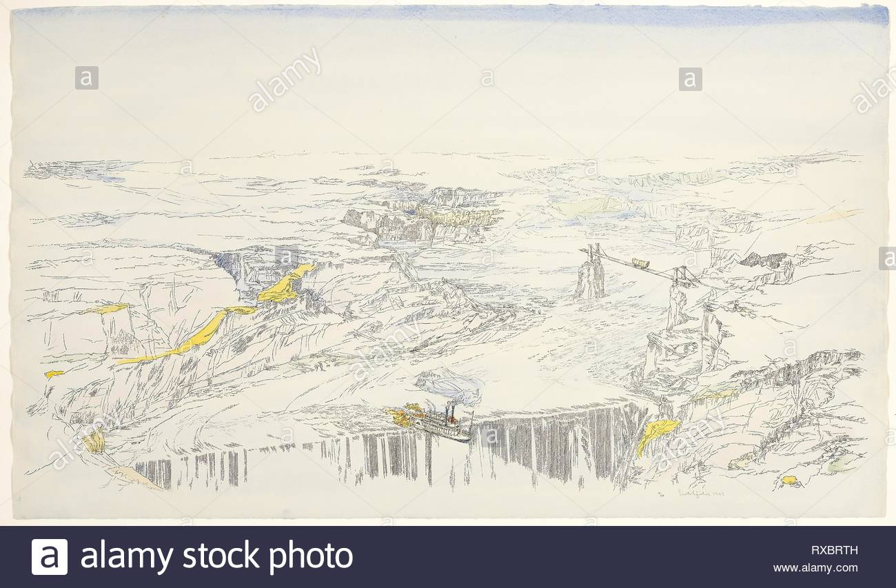 At the Falls, from Vista. William Crutchfield; American, born 1932. Date: 1966-1967. Dimensions: 460 x 783 mm. Lithograph with watercolor on white wove paper. Origin: United States. Museum: The Chicago Art Institute. - Stock Image