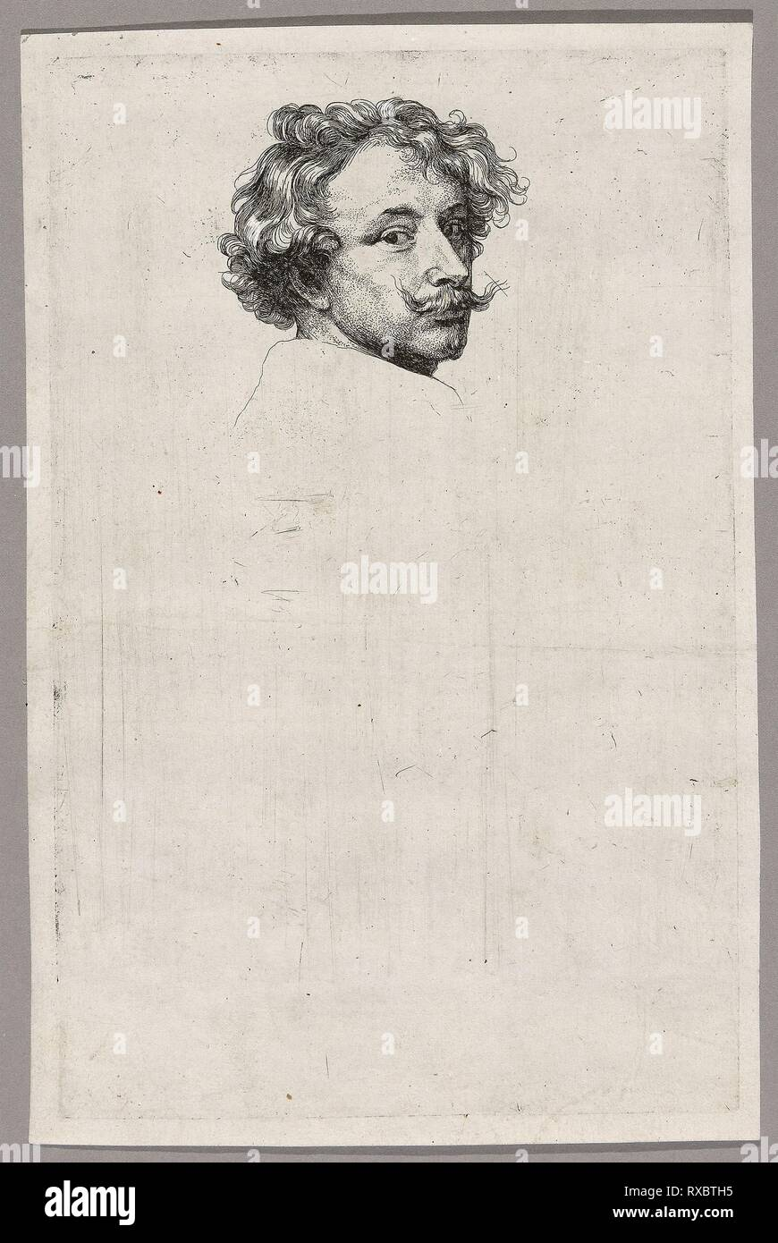 Self-Portrait. Anthony van Dyck; Flemish, 1599-1641. Date: 1630-1633. Dimensions: 246 × 157 mm (image/plate); 257 × 169 mm (sheet). Etching in black on ivory laid paper. Origin: Flanders. Museum: The Chicago Art Institute. - Stock Image