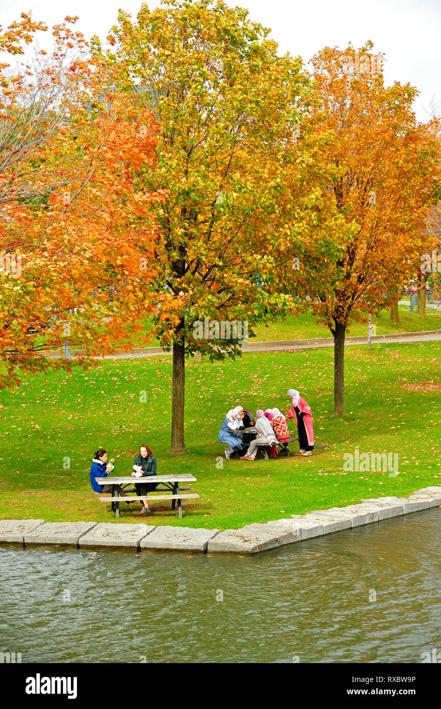 women picnicking in park at Old Port, Montreal, Quebec, Canada - Stock Image