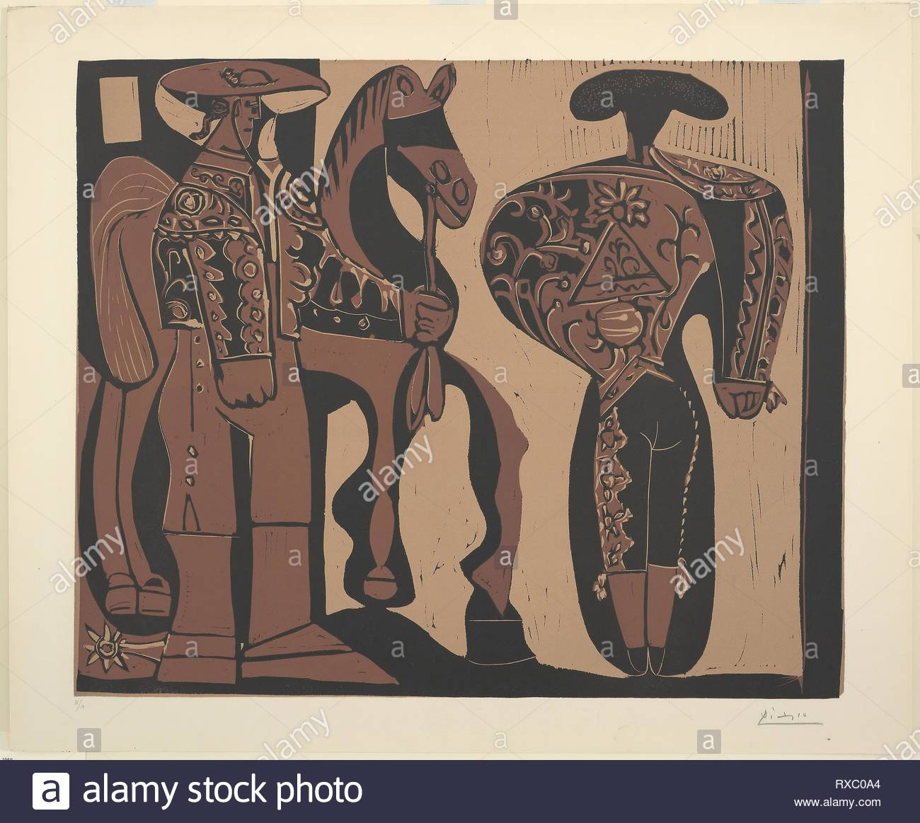 Picador and Bullfighter. Pablo Picasso (Spanish, 1881-1973); printed by Hidalgo Arnéra; published by Galerie Louise Leiris. Date: 1959. Dimensions: 532 x 642 mm (image); 624 x 752 mm (sheet). Color linocut on ivory wove paper. Origin: Spain. Museum: The Chicago Art Institute. - Stock Image