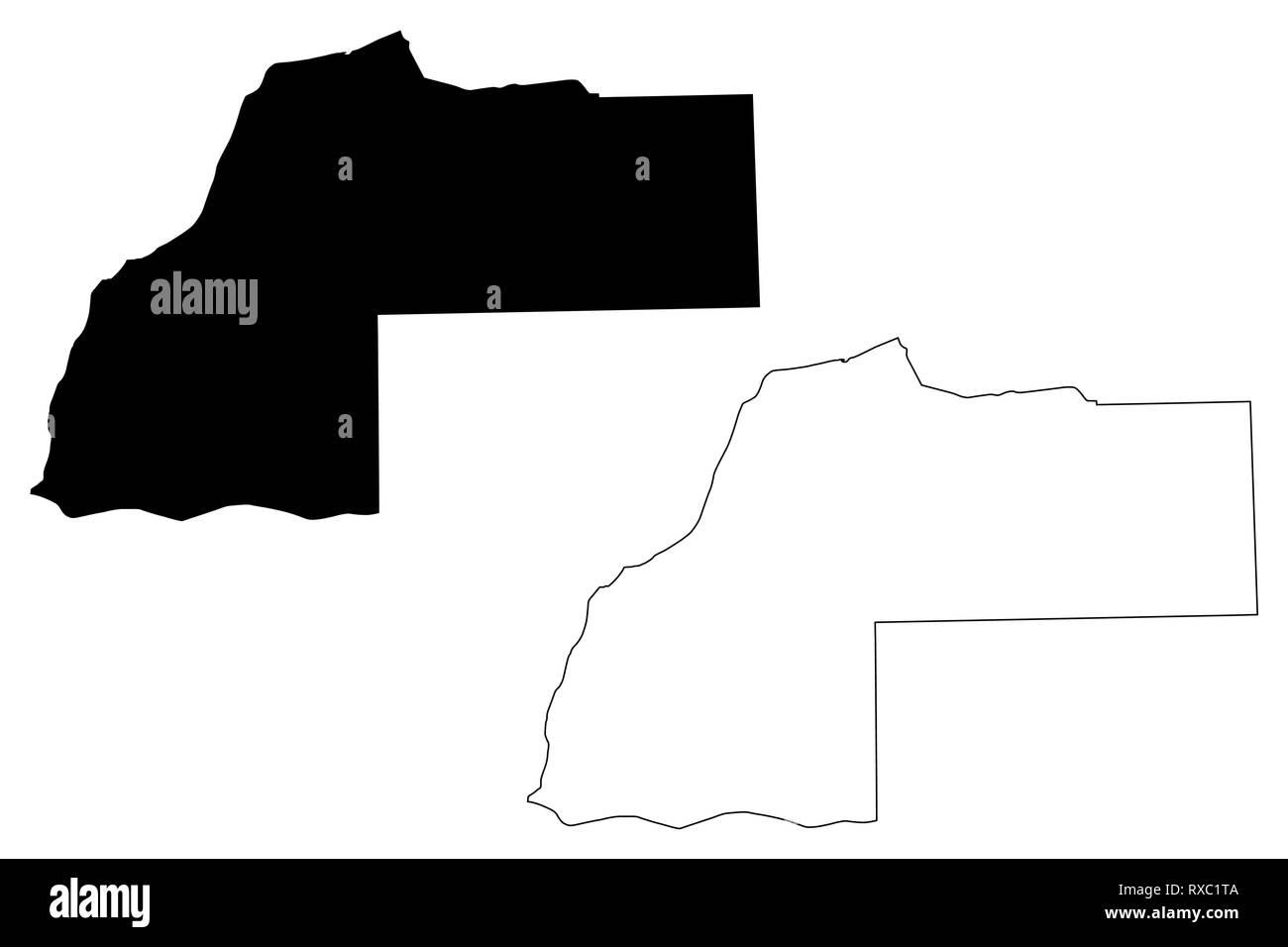 Laayoune-Sakia El Hamra Region (Administrative divisions of Morocco, Kingdom of Morocco, Regions of Morocco) map vector illustration, scribble sketch  - Stock Image