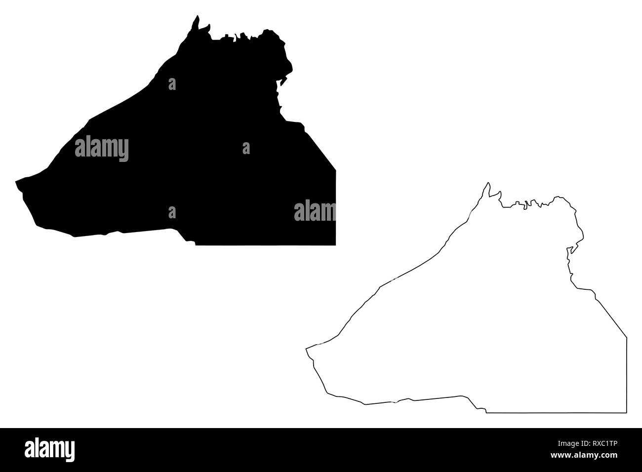Guelmim-Oued Noun Region (Administrative divisions of Morocco, Kingdom of Morocco, Regions of Morocco) map vector illustration, scribble sketch Guelmi - Stock Image