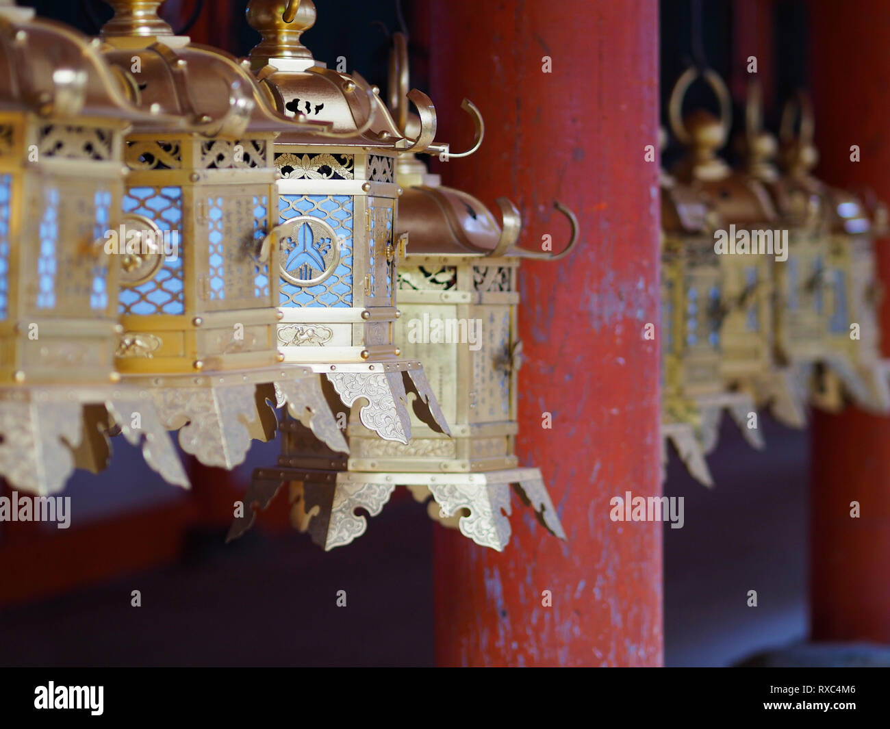 Nara, Japan - 15 Oct 2018: A row of lanterns at a temple near the Kasuga Grand Shrine at Nara, Japan - Stock Image