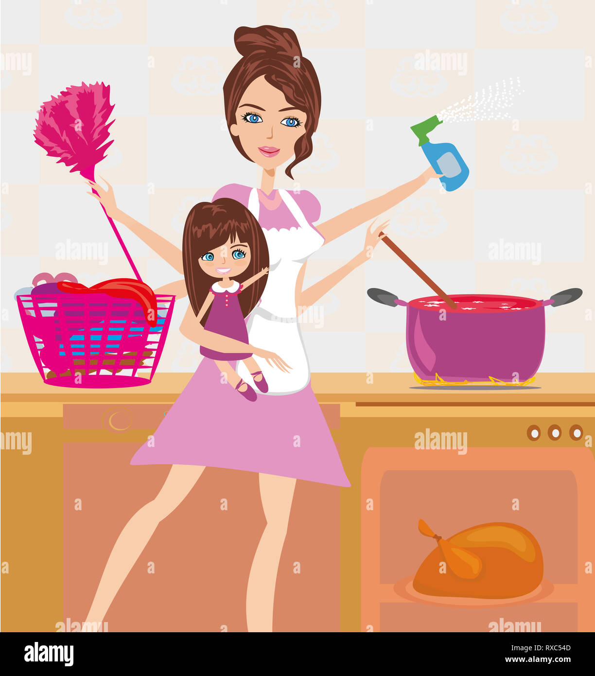 Busy young mother simultaneously doing many tasks around the house. - Stock Image