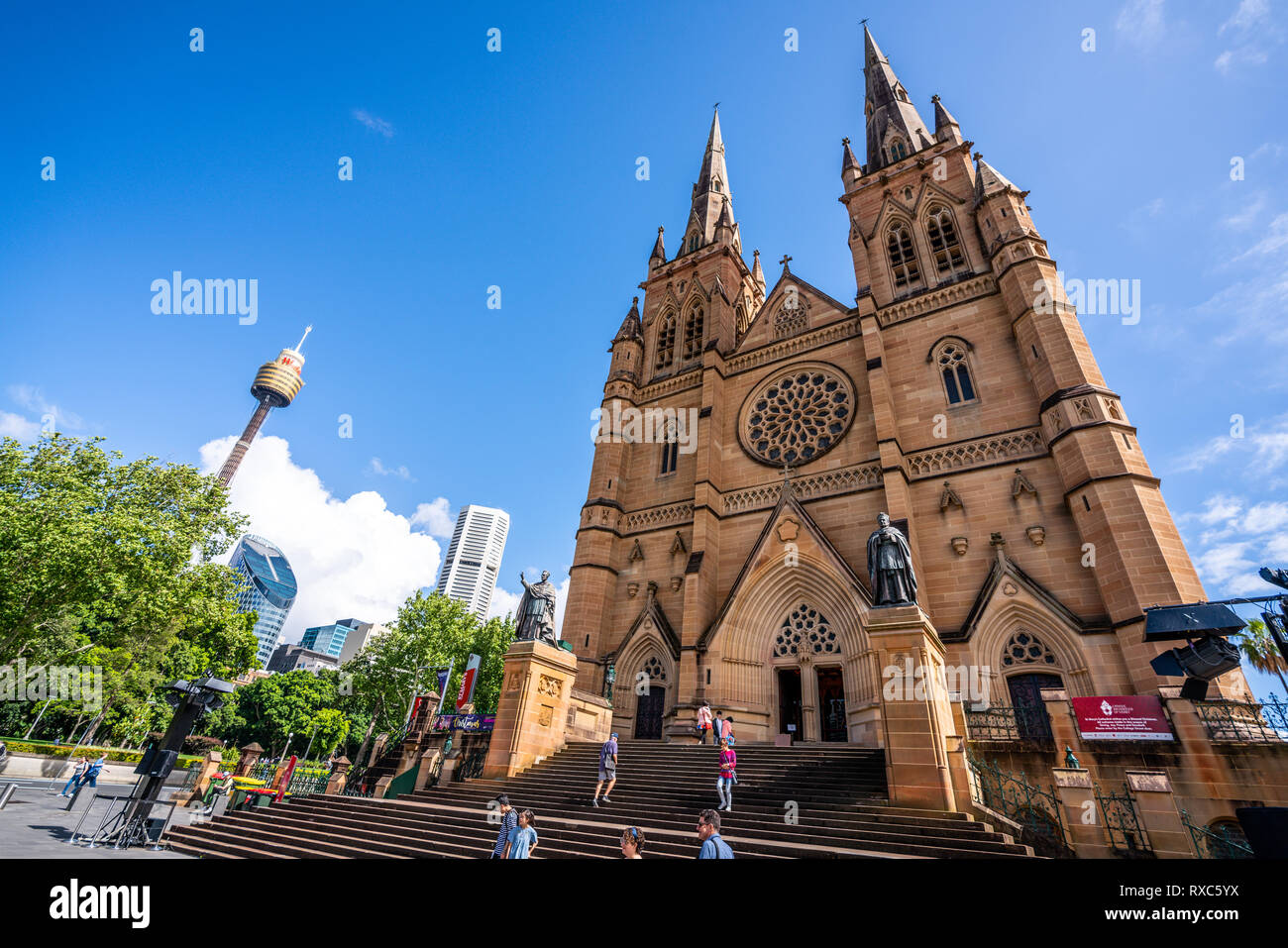 23rd December 2018, Sydney NSW Australia : St Mary's Cathedral wide angle front view and Sydney tower eye in Sydney NSW Australia - Stock Image