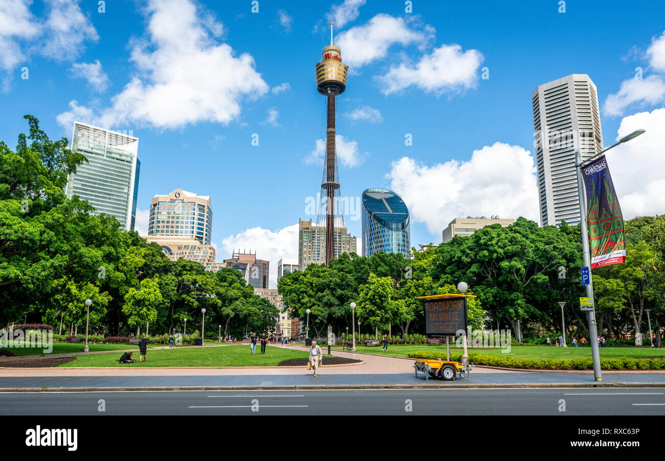 23rd December 2018, Sydney NSW Australia : Sydney tower eye and Sydney skyline with Hyde park in front in NSW Australia - Stock Image