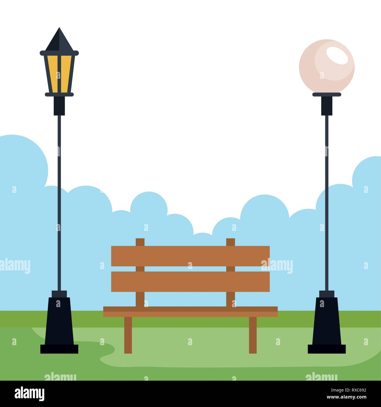 city park with lamps and chair recreation Stock Vector