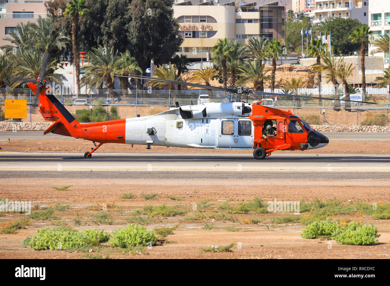 Eilat, ISRAEL-February 24, 2019: UH 60 from Multinational Force and Observers at old Eilat international Airport. - Stock Image