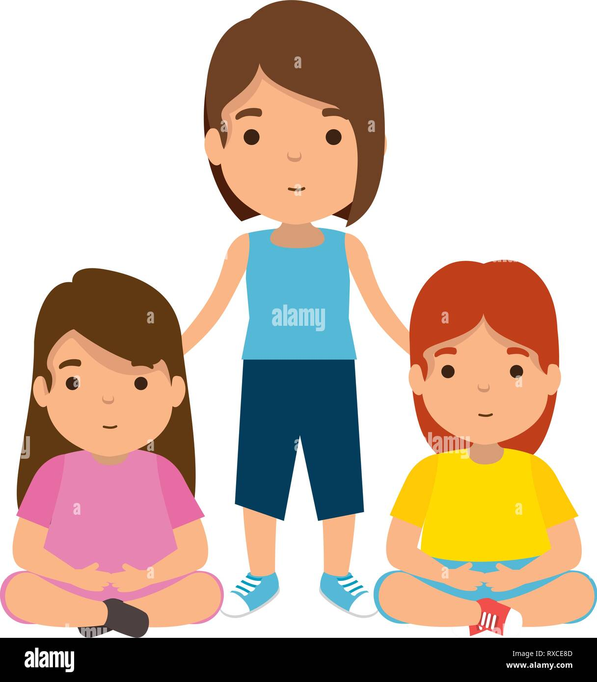 mother with daughters characters Stock Vector Art