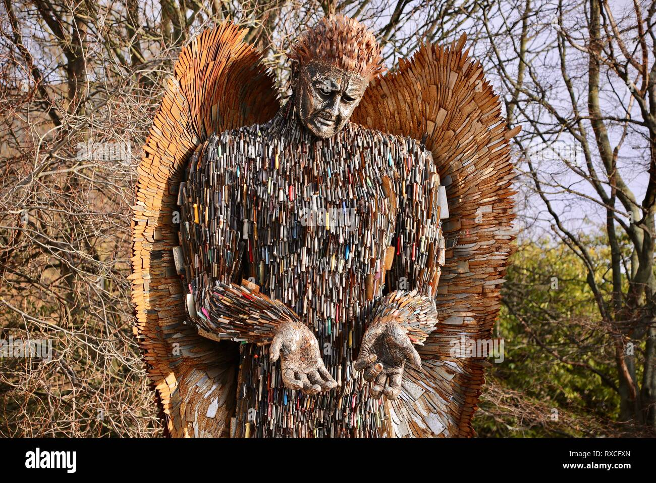 Sculptor Alfie Bradley's Knife Angel on display in Queens Gardens, Hull. The 27ft sculpture made from 100,000 knives was made at the British Ironworks Centre in Shropshire.  Featuring: Atmosphere Where: Hull, United Kingdom When: 06 Feb 2019 Credit: WENN.com Stock Photo