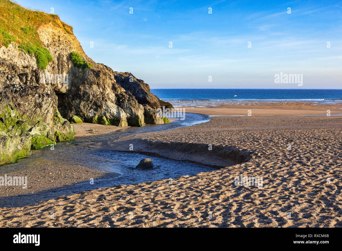 Holywell Beach, North Cornwall, before the crowds arrive. Stock Photo