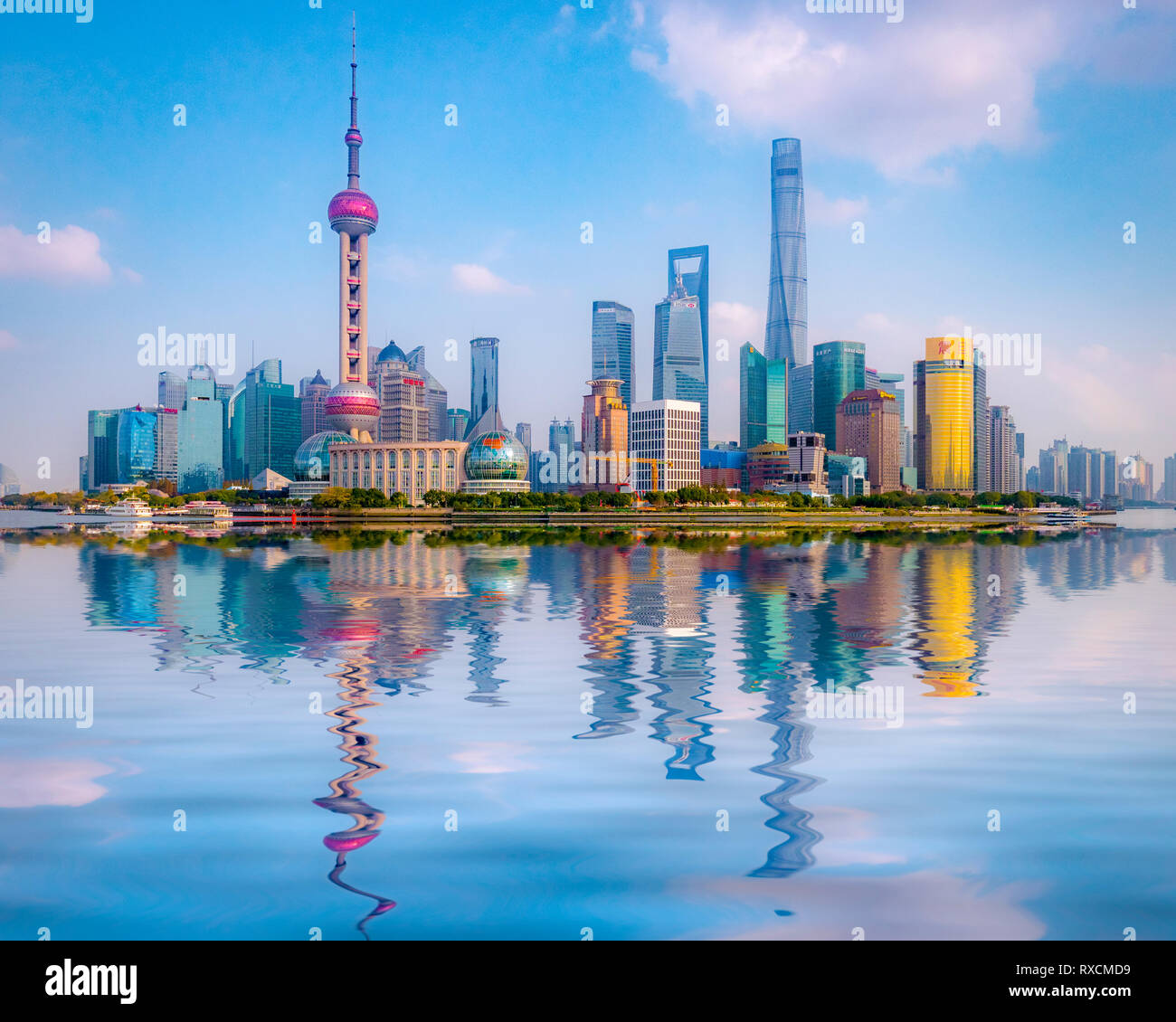 1 December 2018: Shanghai, China - The Huangpu River and the skyline of the Pudong district, Shanghai. Stock Photo