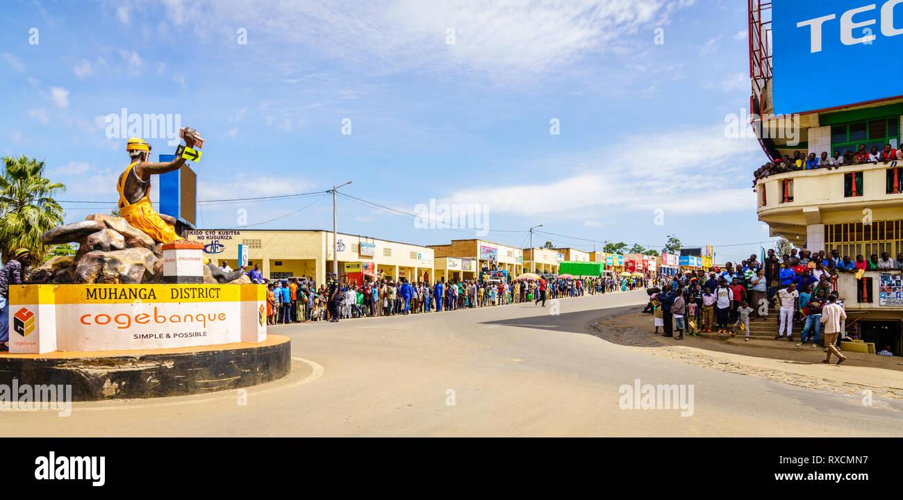 Muhanga, Rwanda, February 26, 2019: People are gathered to watch Tour Du Rwanda cycling race in the city of Muhanga, Rwanda - Stock Image