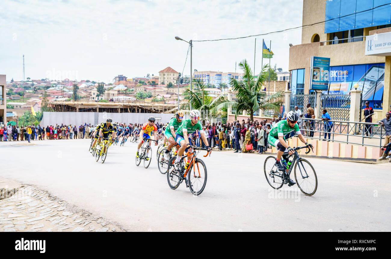 Muhanga, Rwanda, February 26, 2019: Stage 3 of Tour Du Rwanda cycling race in the city of Muhanga, Rwanda - Stock Image