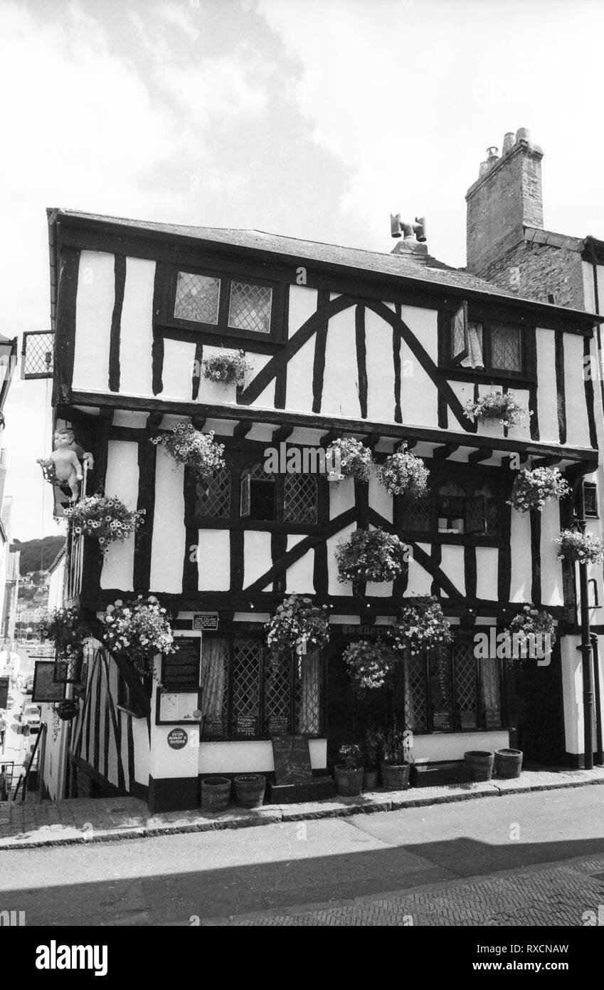 The Cherub Inn, Higher Street, Dartmouth: half-timbered building dating from 1380.  Old film photograph, circa 1970 - Stock Image