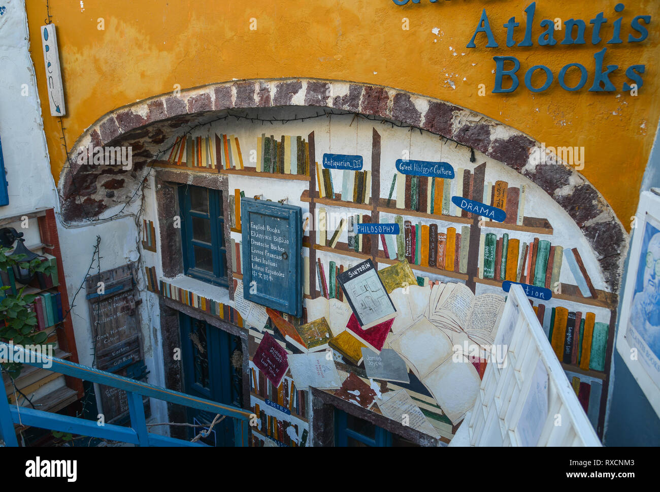 Santorini, Greece - Oct 4, 2018. View of Atlantis Bookshop on Santorini Island, Greece. Atlantis is one of my favorite bookstores anywhere. - Stock Image