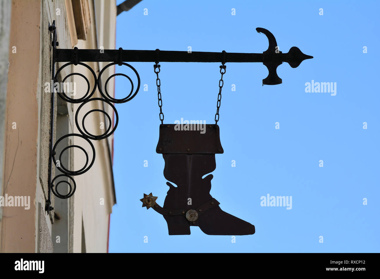 Shoemaker in the old town of Wismar in Germany - Stock Image