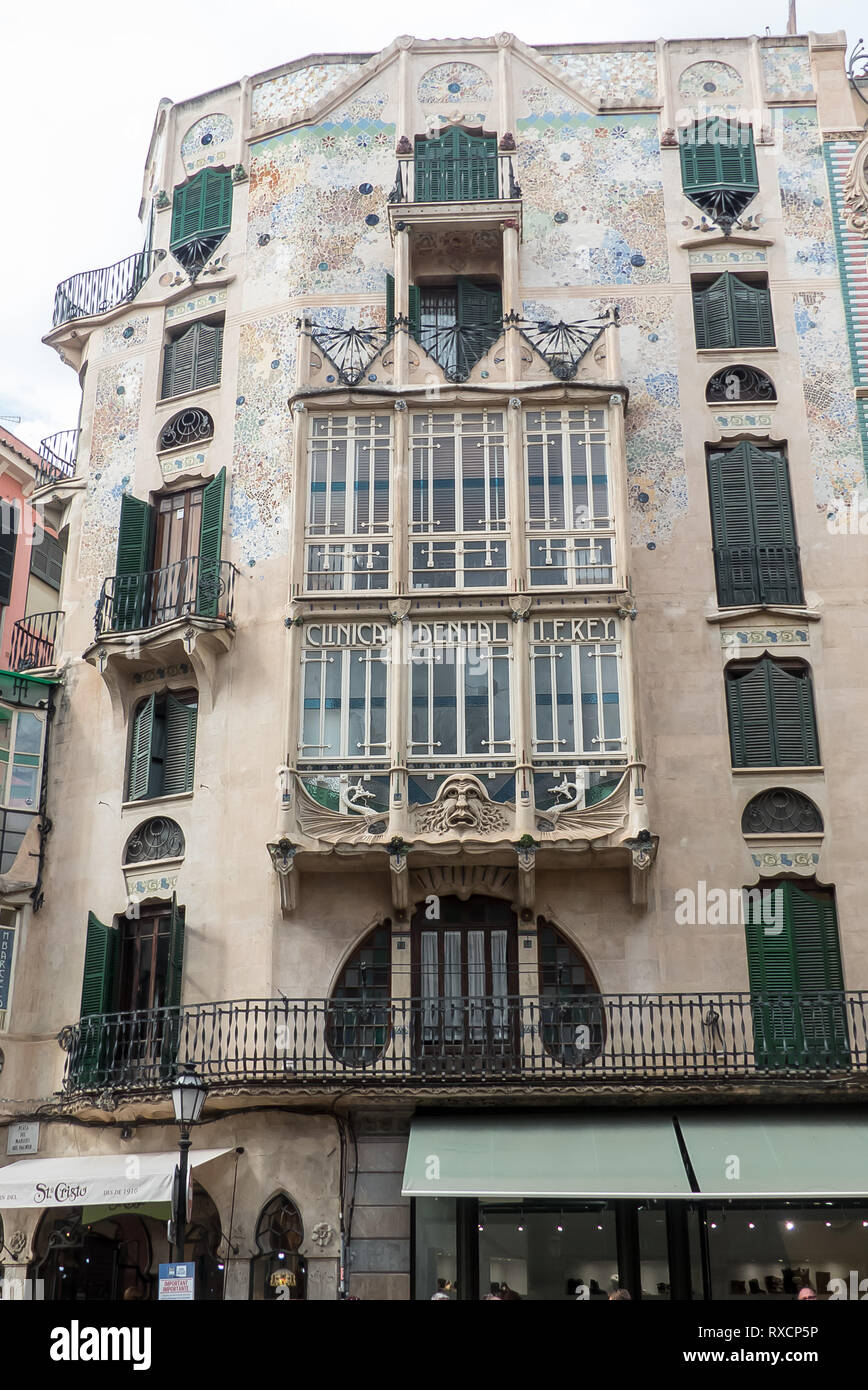 A fine example of modernism on this building Palma, Majorca - Stock Image