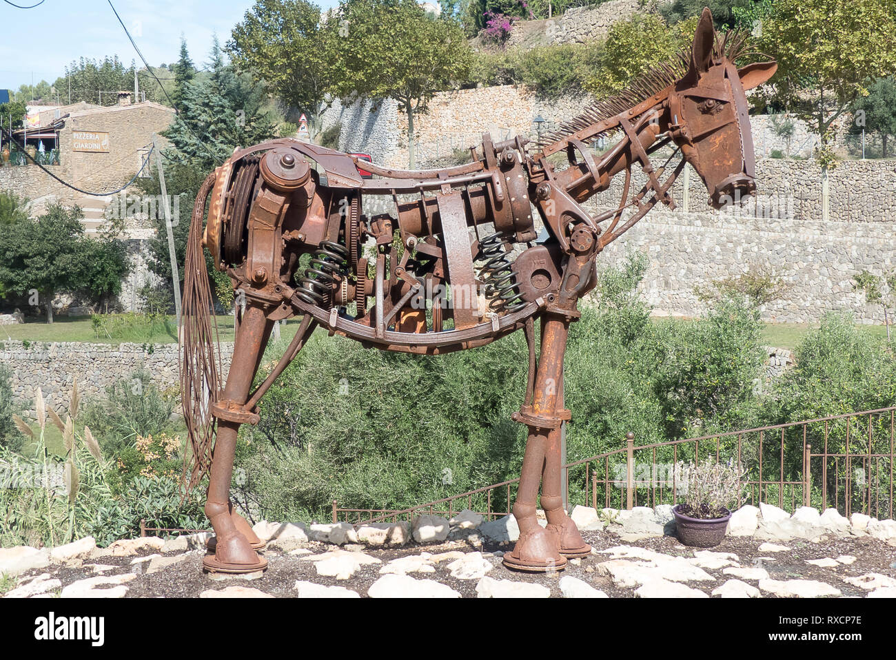 Majorca 2018: a sculpture of a horse made of old car parts, seen in the village of Estellencs. Stock Photo