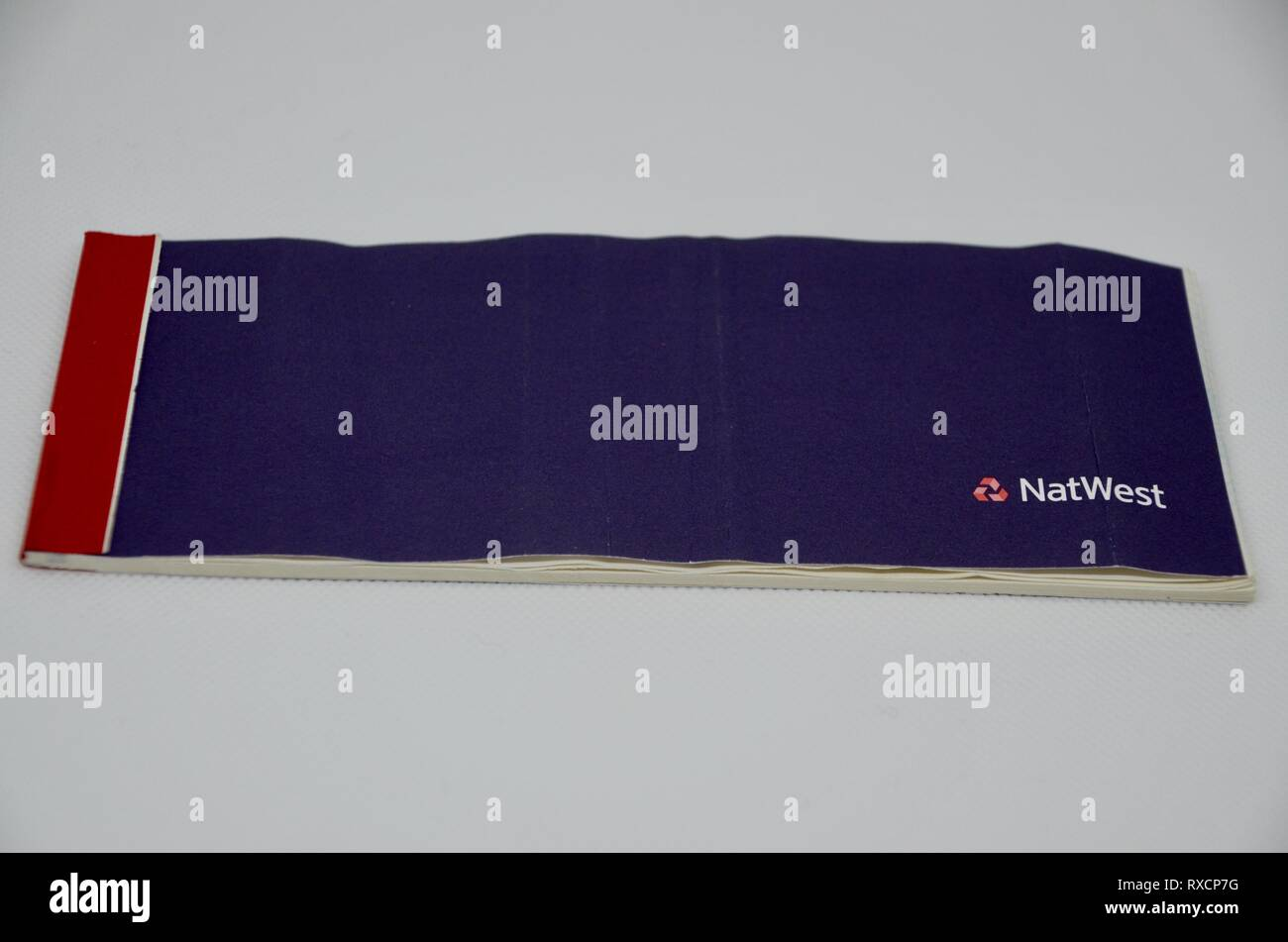 a natwest blue cheque book from the 2000s england UK - Stock Image