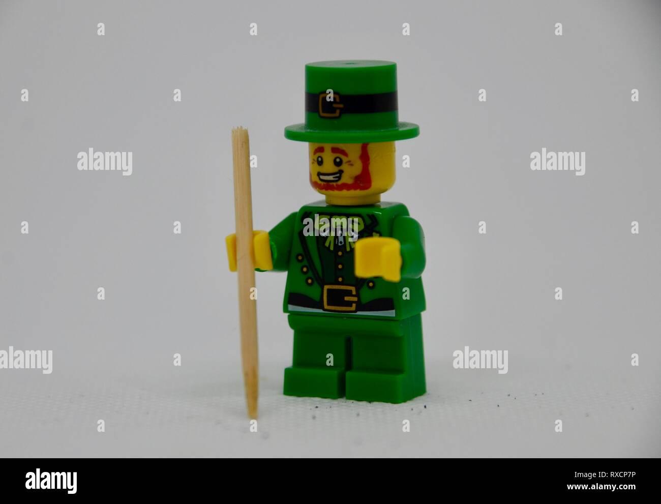leprechaun mini lego figure - Stock Image