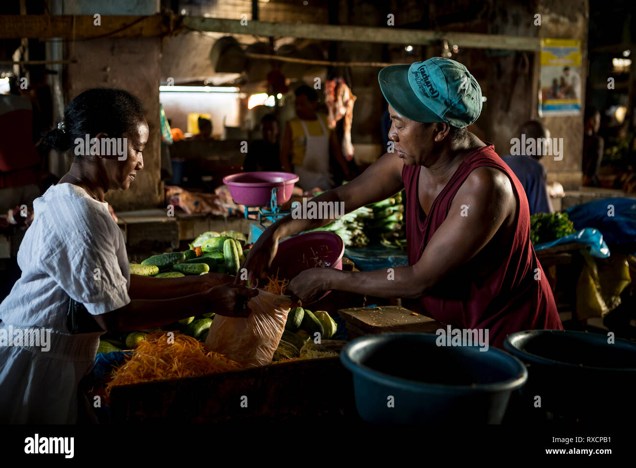 Greengrocery, market, Morondava, Madagascar - Stock Image