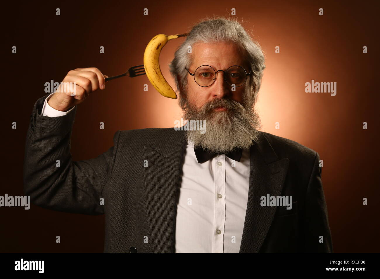 b49606b5a Portrait of a gray-haired elderly gentleman, with a shaggy mustache and  beard,