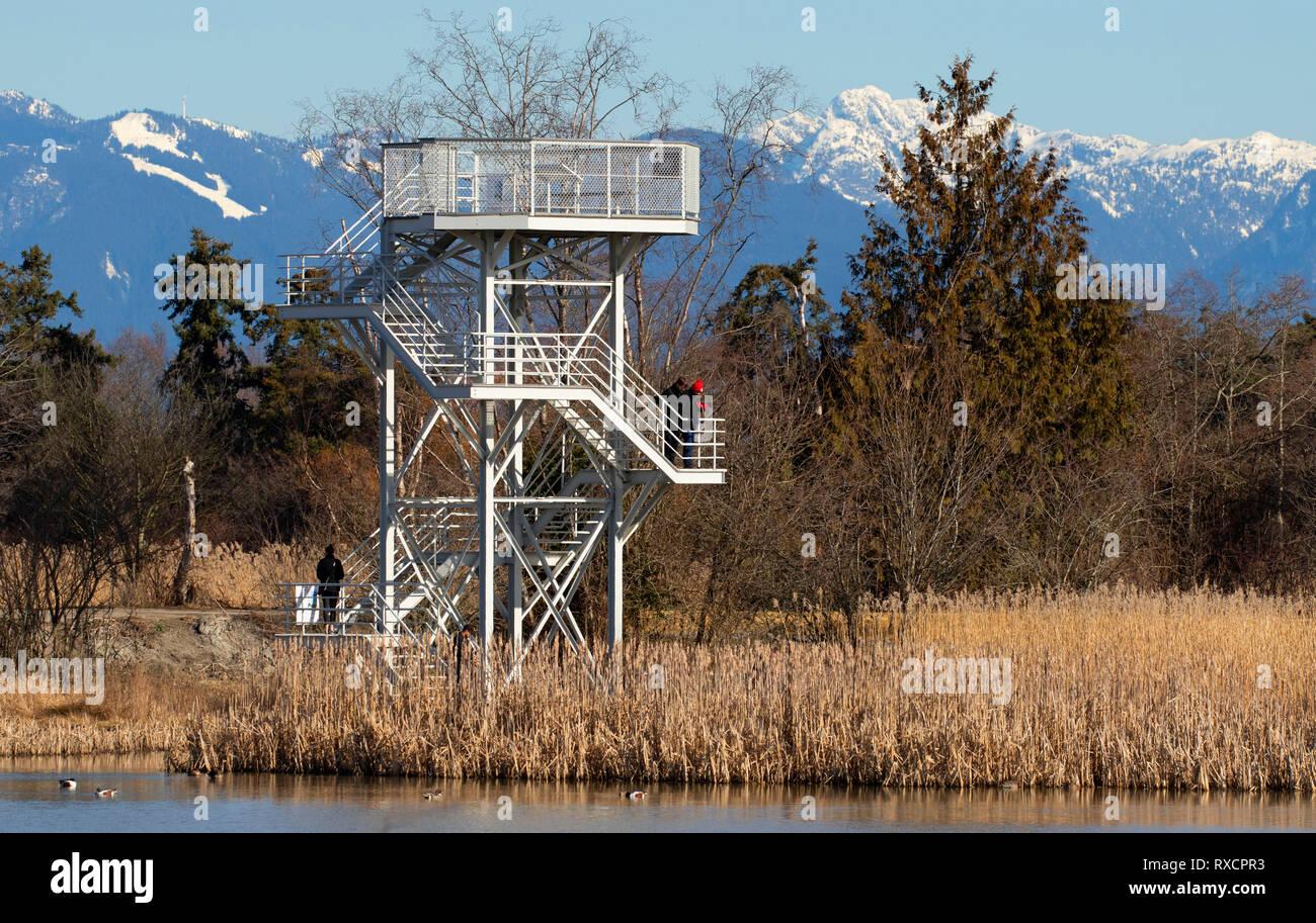 Viewing tower, George C Reifel Migratory Bird Sanctuary, British Columbia, Canada - Stock Image