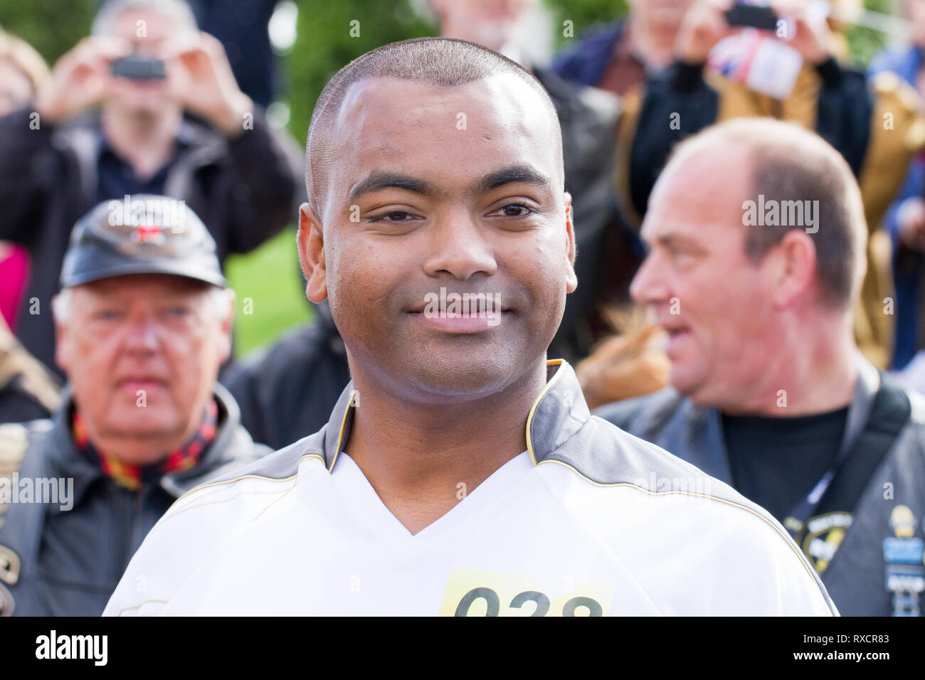 Lance Sergeant Johnson Gideon Beharry (VC)Victoria Cross  British Army Soldier at the Armed Forces Memorial, National Memorial Arboretum,Staffordshire - Stock Image