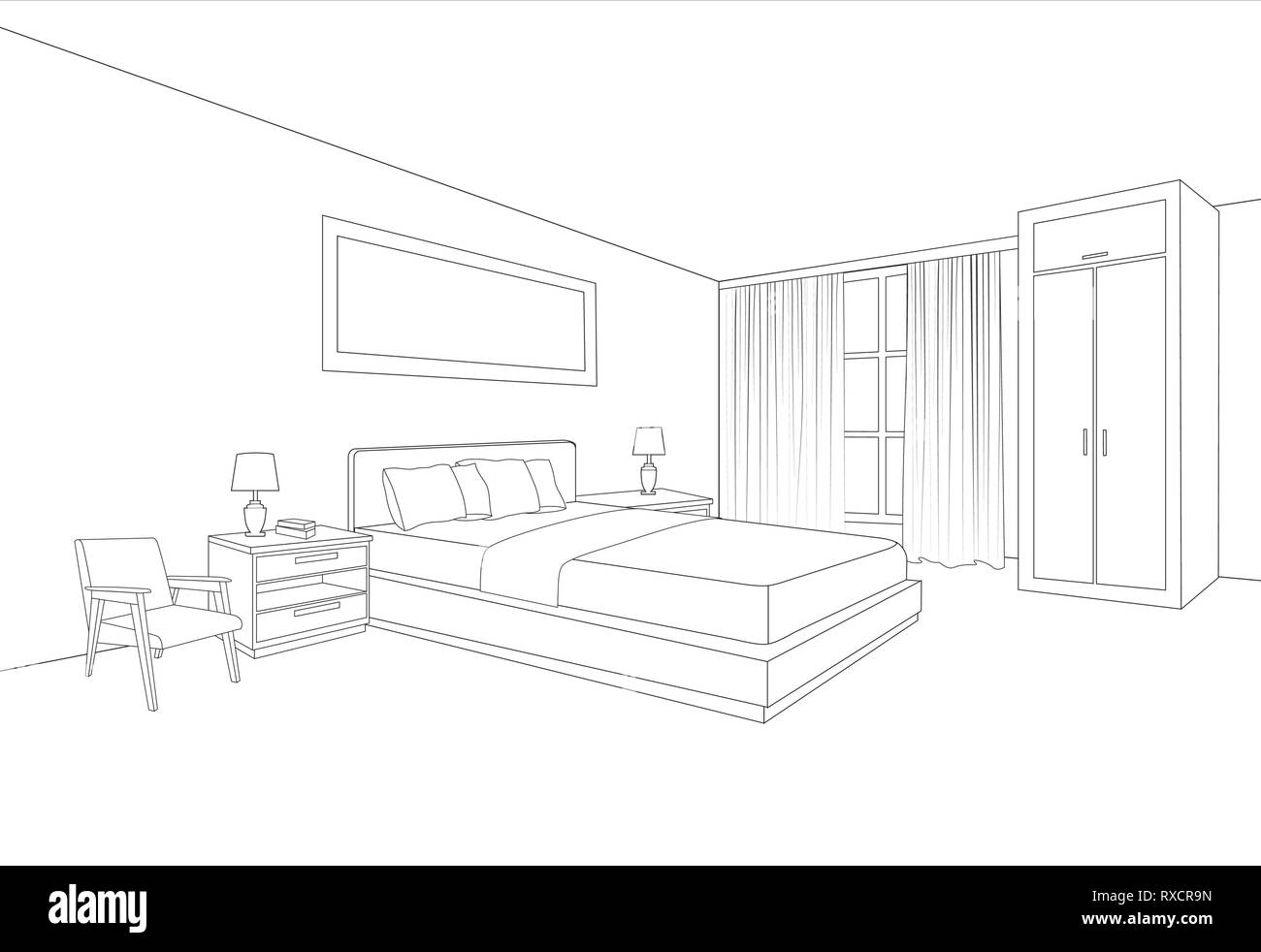 Bedroom Furniture Interior Room Line Sketch Drawing Home Indoor Design Perspective Of A Interior Space Stock Vector Image Art Alamy