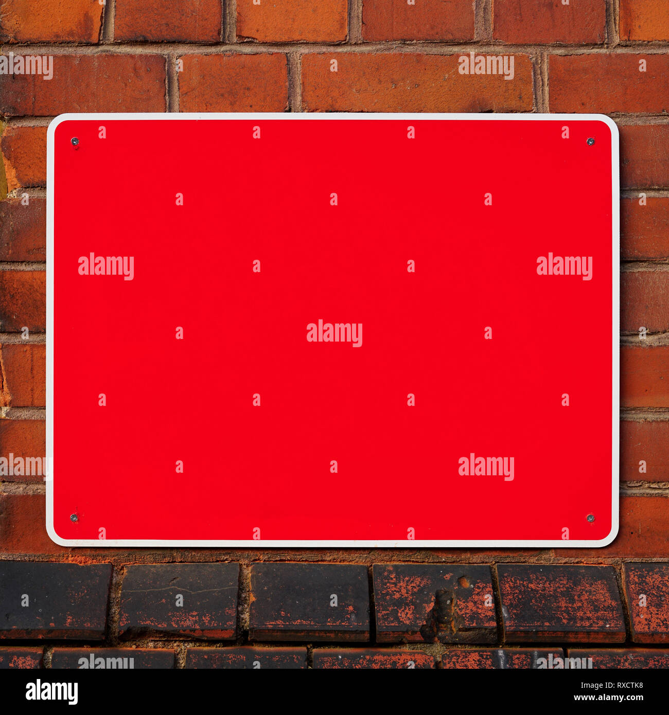 empty red sign - Stock Image