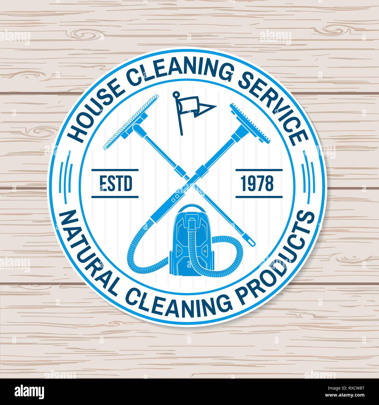 Concept for shirt sticker print stamp or patch vintage typography design with cleaning equipments cleaning service sign for company related business