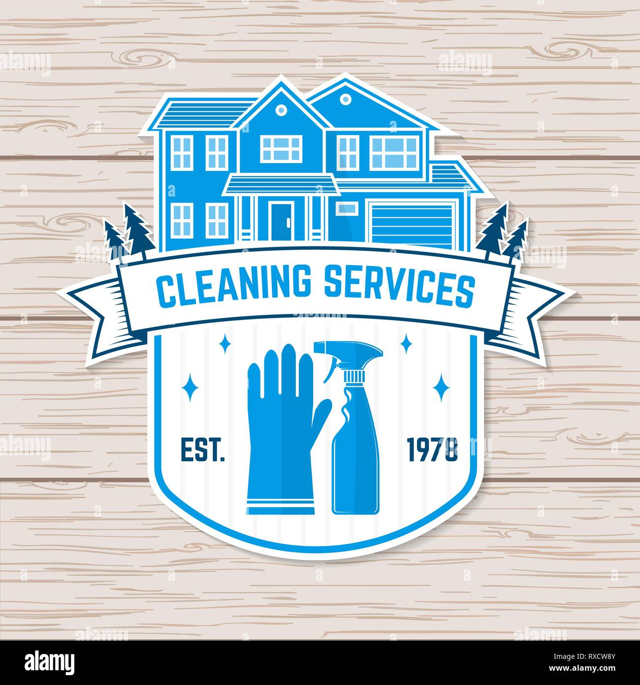 Cleaning company badge, emblem. Vector. Concept for shirt, sticker, print, stamp or patch. Vintage typography design with cleaning equipments. Cleaning service sign for company related business - Stock Vector